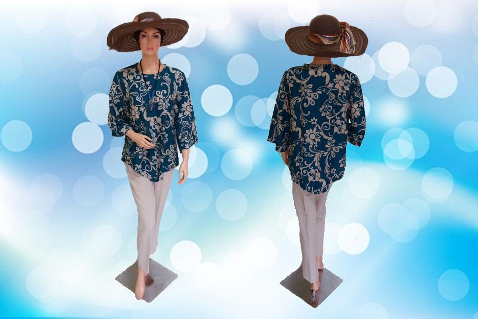 Batik Modern Hijau Tosca Full