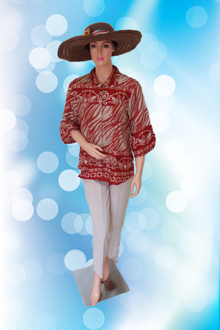 Batik Modern Krem (Depan )