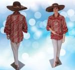 Blouse Batik Modern Bunga Merah Bata