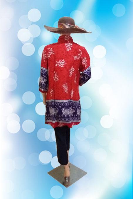 Blouse Batik Jumbo Merah (Belakang)1