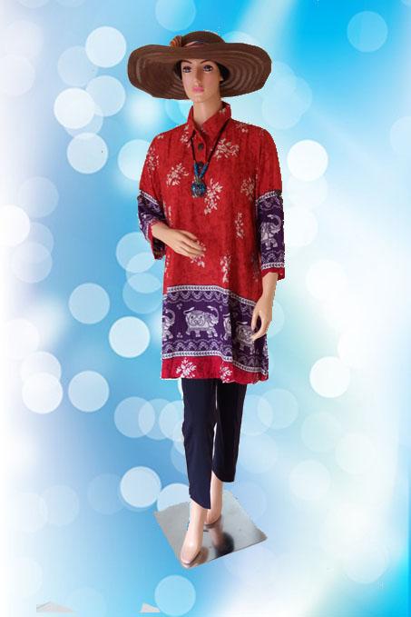 Blouse Batik Jumbo Merah (Depan)1