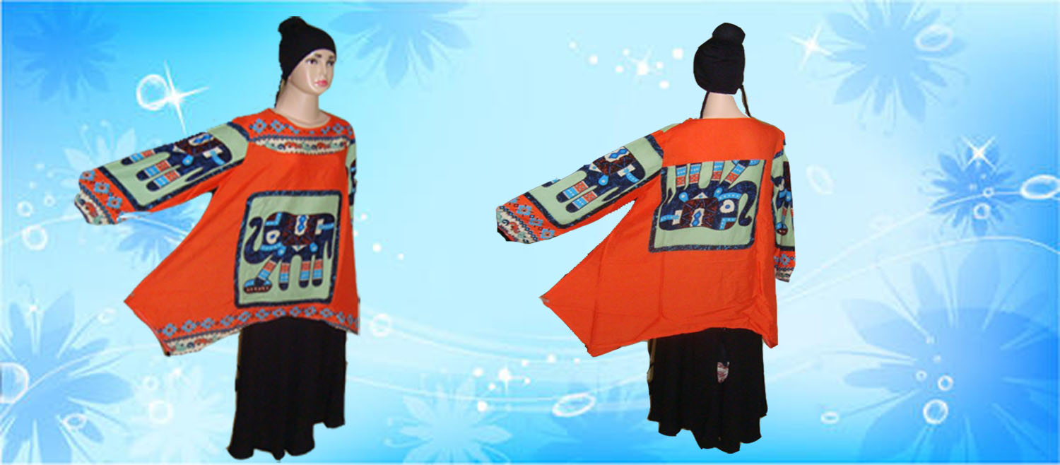 Blouse Motif Gajah Orange. copy