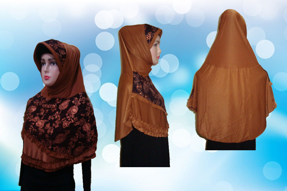 Hijab Instan Coklat Kunyit Full