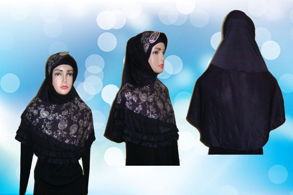 Hijab Instan Hitam Full