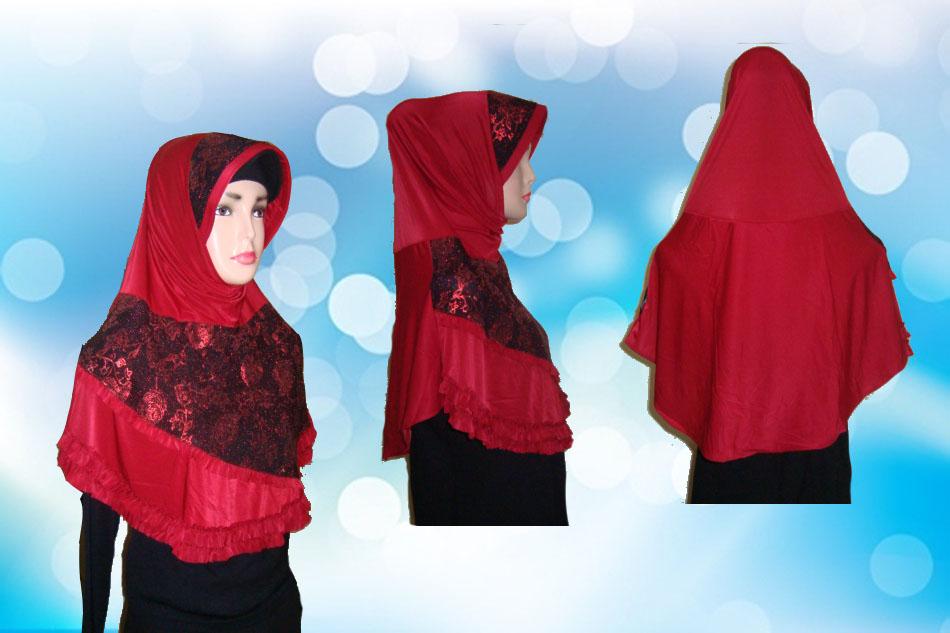 Hijab Instan Merah Full