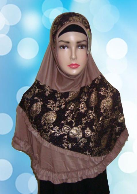 Hijab Instant Coklat ( Depan )
