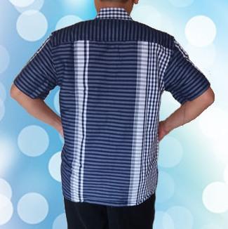 Kemeja Lengan pendek Biru ( Belakang)2